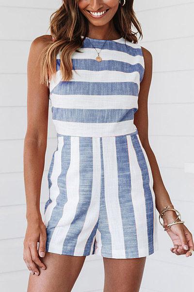Round Neck Sleeveless Striped Jumpsuit