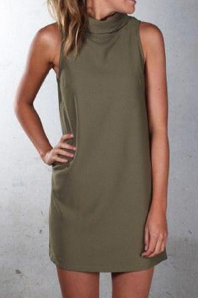 Crew Neck  Plain  Sleeveless Casual Dresses