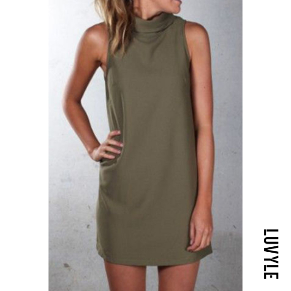 Army Green Crew Neck Plain Sleeveless Casual Dresses Army Green Crew Neck Plain Sleeveless Casual Dresses