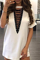 Deep V Neck  Lace Up  Plain Casual Dresses