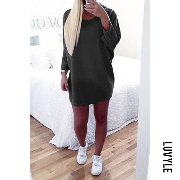 Black Round Neck Asymmetric Hem Plain Batwing Sleeve Long Sleeve Casual Dresses Black Round Neck Asymmetric Hem Plain Batwing Sleeve Long Sleeve Casual Dresses