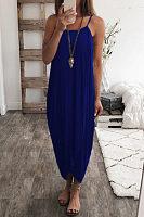 Spaghetti Strap  Asymmetric Hem  Plain  Sleeveless Maxi Dresses