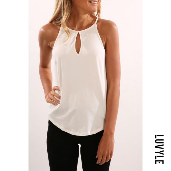 White Halter Asymmetric Hem Plain T-Shirts White Halter Asymmetric Hem Plain T-Shirts