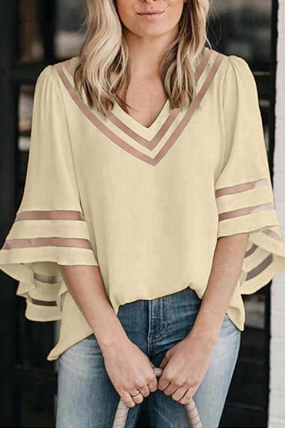 Women's Mesh Patchwork Loose Tops Bell Sleeves T-Shirts