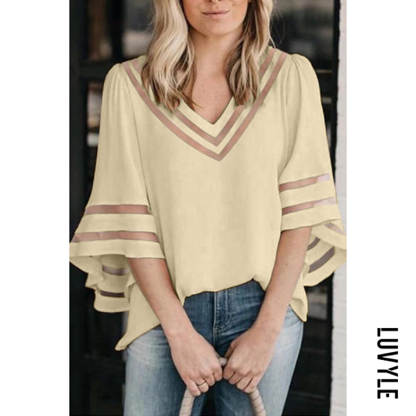 Beige Women's Mesh Patchwork Loose Tops Bell Sleeves T-Shirts Beige Women's Mesh Patchwork Loose Tops Bell Sleeves T-Shirts