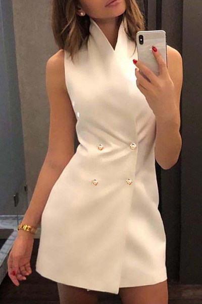 Band Collar  Double Breasted  Plain  Sleeveless Bodycon Dresses