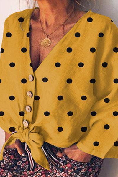 V Neck Single Breasted Polka Dot Casual Blouse