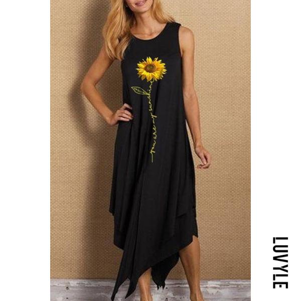 Round Neck Sleeveless Sunflower Maxi Dress