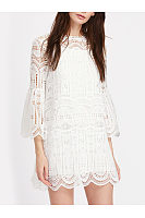 Bell Sleeve Hollow Out Plain Lace Two-Piece Shift Dress