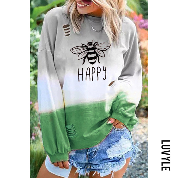 Green Casual Round Neck Long Sleeve Broken Holes Printed Colour T-Shirt Green Casual Round Neck Long Sleeve Broken Holes Printed Colour T-Shirt