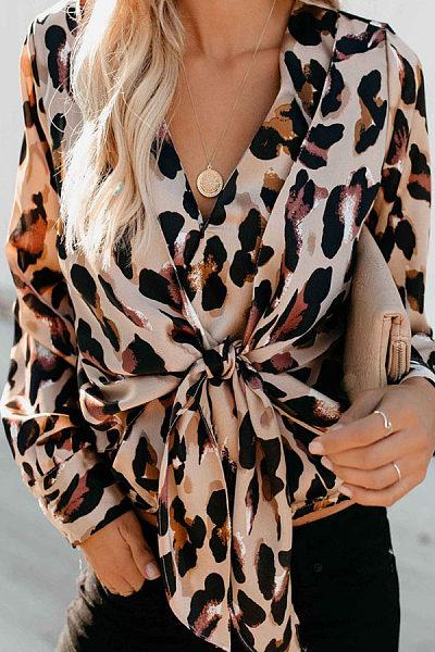Sexy V Neck Leopard Print Shirt