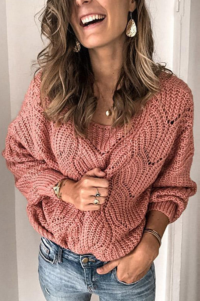 Round Neck Hollow Out Plain Sweater