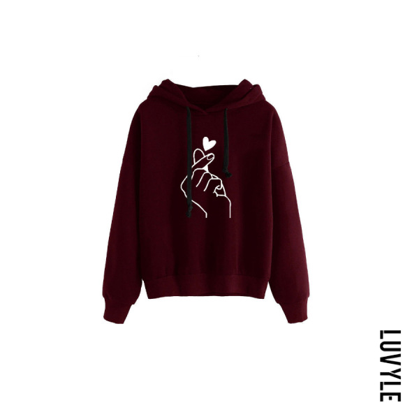 Claret Hooded Long Sleeve Printed Casual Hoodies Claret Hooded Long Sleeve Printed Casual Hoodies