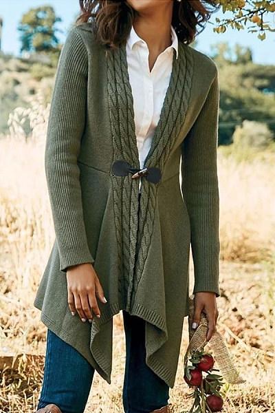 Collarless Knit Plain Outerwear