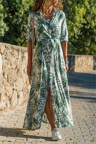 Casual Lapel palm trees Printed Long Sleeve Maxi Dress