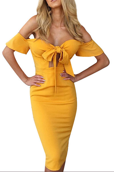 Strapless  Bowknot Slit  Plain Bodycon Dresses