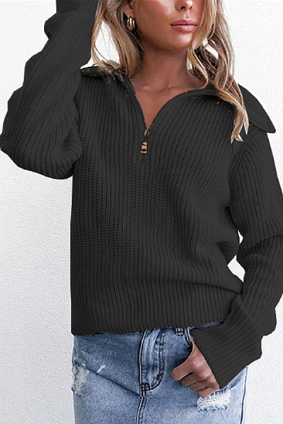 Lapel Zip-Knit Pullover Casual Jacket