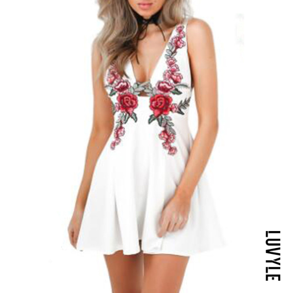 White V Neck Backless Embroidery Skater Dress White V Neck Backless Embroidery Skater Dress