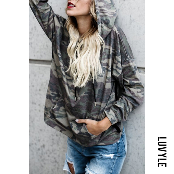Army Green Hooded Drawstring Camouflage Hoodies Army Green Hooded Drawstring Camouflage Hoodies