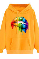 Rainbow Candy Color Lip Print Loose Hoodie Sweatshirt