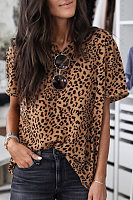 V Neck Leopard Short Sleeve T-shirt