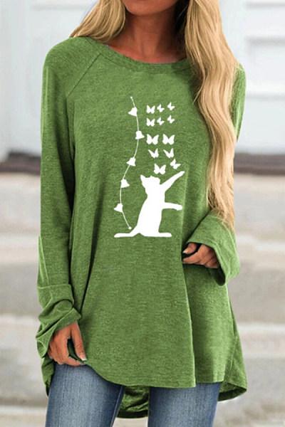 Cat Printed Round Neck T-shirt