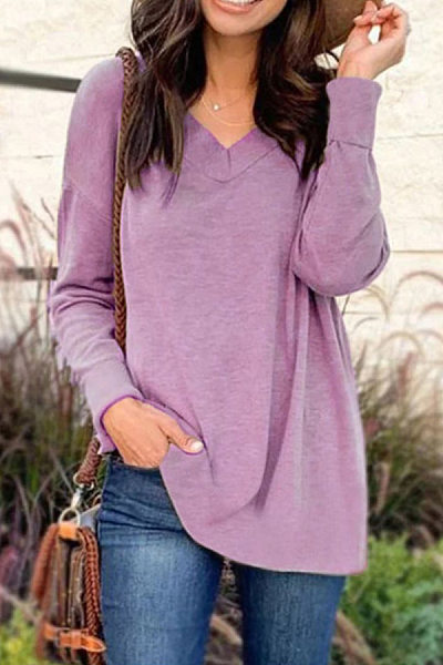 Casual V Neck Long Sleeve Plain T-Shirt