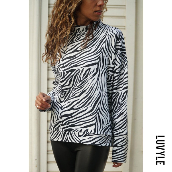 White Turtle Neck Long Sleeve Printed Casual T-Shirts White Turtle Neck Long Sleeve Printed Casual T-Shirts
