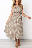 Round Neck  Asymmetric Hem  Dot  Sleeveless Maxi Dresses