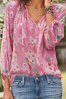 V Neck  Single Breasted  Floral  Lantern Sleeve  Blouses