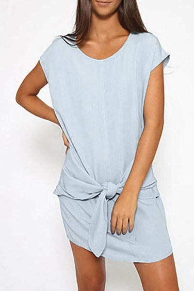 Denim Round Neck Bowknot Casual Dress