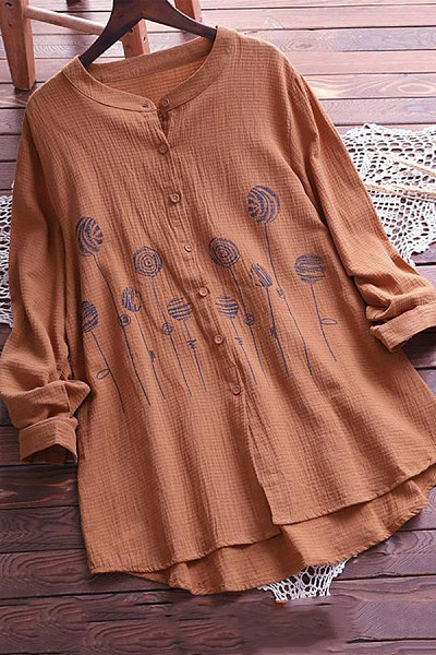 Women Casual Round Neck Long Sleeve Printed Blouse