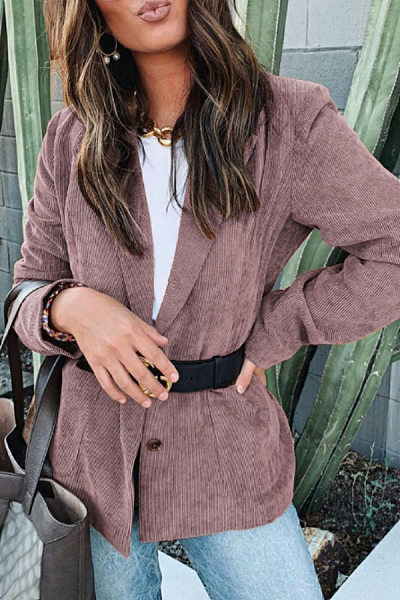 Narrow Notch Lapel Plain Blazer