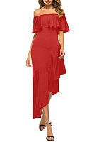 Off Shoulder  Asymmetric Hem Flounce  Plain  Short Sleeve Maxi Dresses