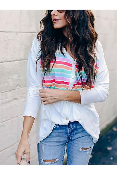 Casual V Neck Printed Colour Striped Shirt