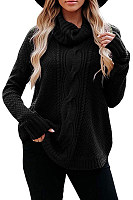 Heap Collar Solid Casual Sweater
