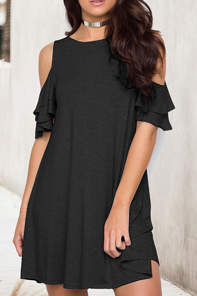 Round Neck  Flounce  Plain Casual Dresses