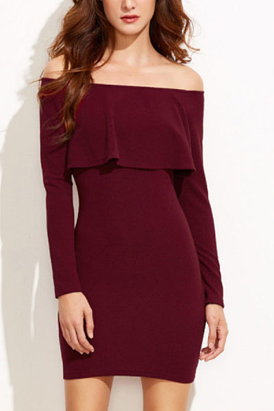 Off Shoulder  Flounce  Plain Bodycon Dresses