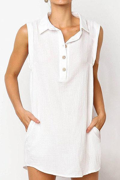 Lapel Button Neck Sleeveless Plain Casual Dresses