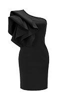 One Shoulder  Slit  Cascading Ruffles  Plain Bodycon Dresses