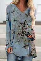 V-neck Butterfly Print Top