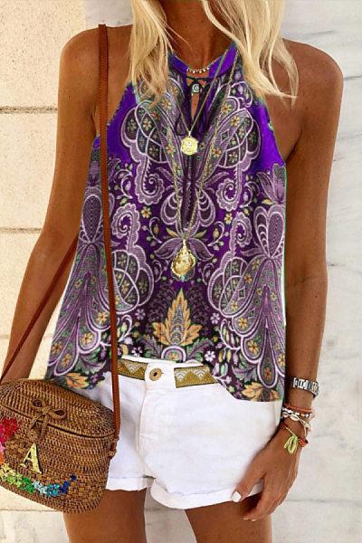 Bohemian casual printed loose sling Vest