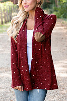 Casual female wave point loose cardigan