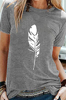 Round Neck Feather Print Short Sleeve T-shirt