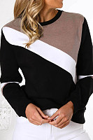 Casual fashion colorblock long sleeve sweater