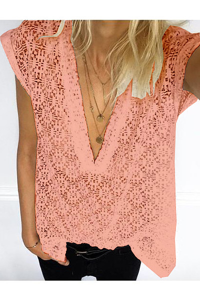 Casual Sexy V-Neck Lace Short-Sleeved T-Shirt