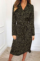 V Neck  Belt  Leopard  Long Sleeve Maxi Dresses