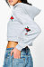 Hooded  Drawstring  Exposed Navel  Floral Sweatshirts