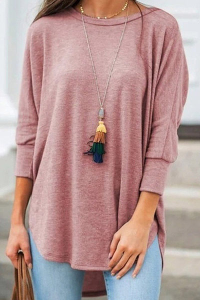 Loose casual round neck cropped sleeves