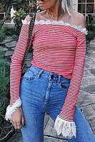 Open Shoulder  Decorative Lace Patchwork  Striped T-Shirts